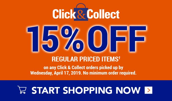 Click & Collect: 15% off regular priced items